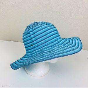 Betmar Beach Blue Striped Ribbon Sun Hat